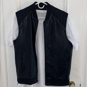 Vest black leather and slim